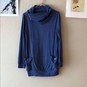 {no name} -Size M- Cowl neck sweater with buttons
